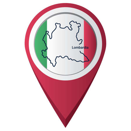 Map pointer with lombardia map