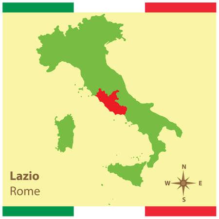 Lazio auf Italien Karte Standard-Bild - 81590252