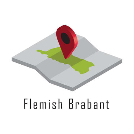 flemish brabant paper map with map pointer 向量圖像