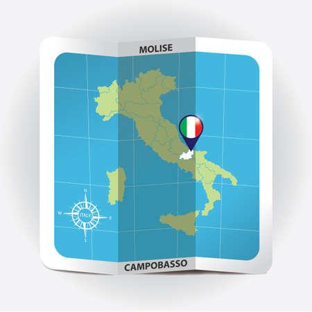 Ponteiro de mapa indicando molise no mapa da Itália Foto de archivo - 81601102