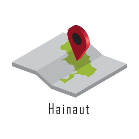 hainaut paper map with map pointer