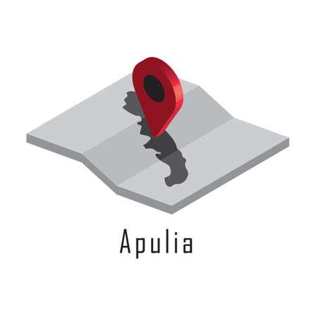 지도 포인터가있는 apulia지도