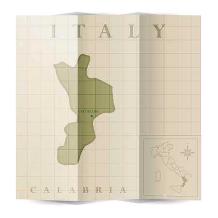 カラブリア紙の地図  イラスト・ベクター素材