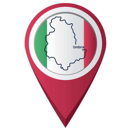 kaart aanwijzer met umbria kaart Stock Illustratie