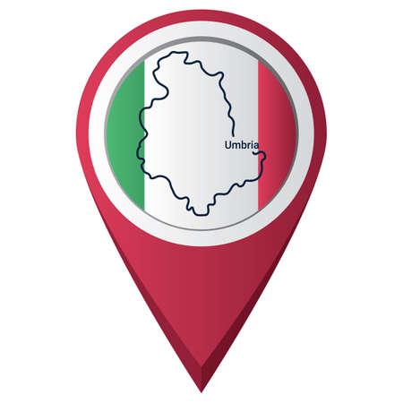Puntero del mapa con el mapa de Umbria Foto de archivo - 81601083