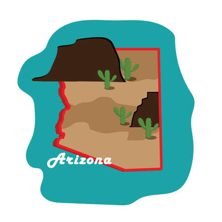 グランドキャニオンとアリゾナ州地図