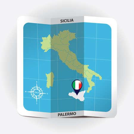 Puntero del mapa que indica sicilia en el mapa de Italia Foto de archivo - 81601111