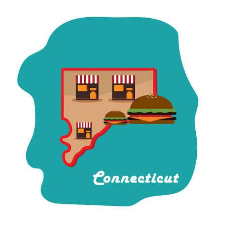 첫 번째 햄버거에 집이있는 코네티컷 주지도