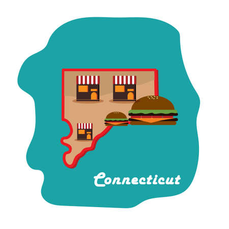 connecticut state map with home to the first hamburger Ilustrace