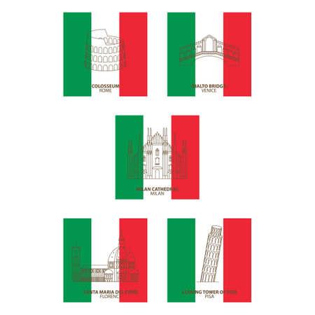 イタリアのランドマーク  イラスト・ベクター素材