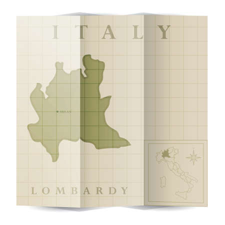 Lombardy paper map