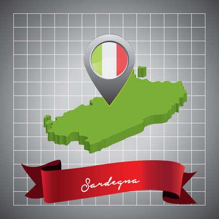 sardegna map with map pointer Ilustração