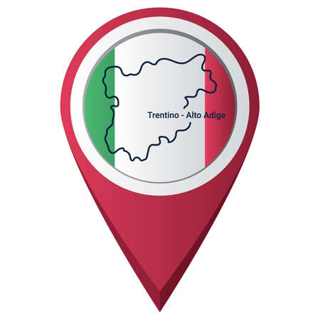 Map pointer with trentino-alto adige map Çizim