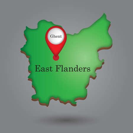 Mapa indicador que indica ghent en el mapa de Flandes Oriental Foto de archivo - 81601120