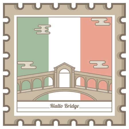 rialto bridge postal stamp