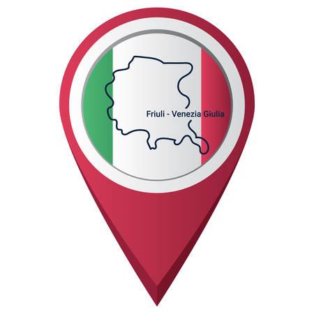 Map pointer with friuli-venezia giulia map