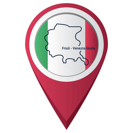Map pointer with friuli-venezia giulia map