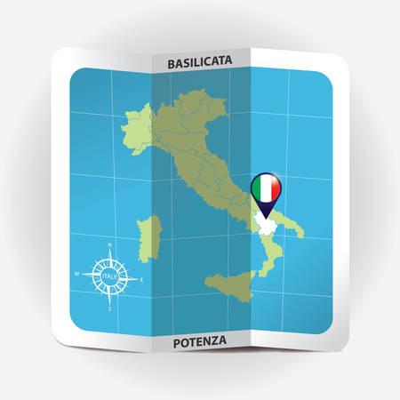 Map pointer indicating basilicata on italy map Illustration