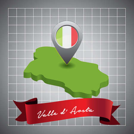 valle daosta map with map pointer