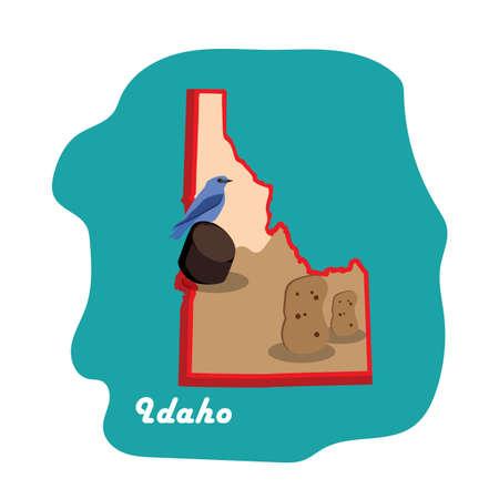 ジャガイモとアイダホ州地図  イラスト・ベクター素材