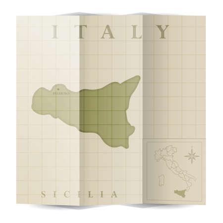 Sicilia paper map Ilustracja