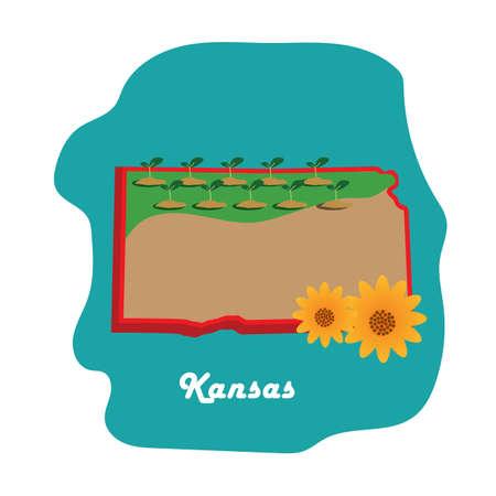 ひまわりとカンザス州地図  イラスト・ベクター素材