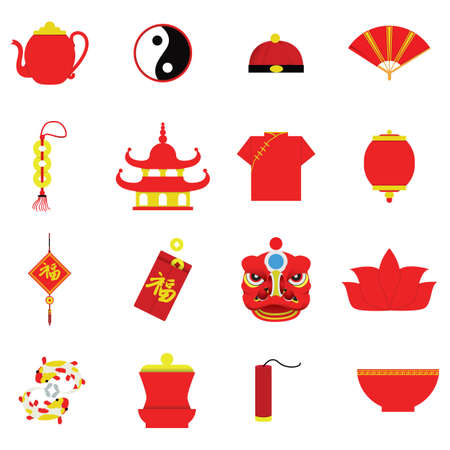 collection of chinese icons 向量圖像