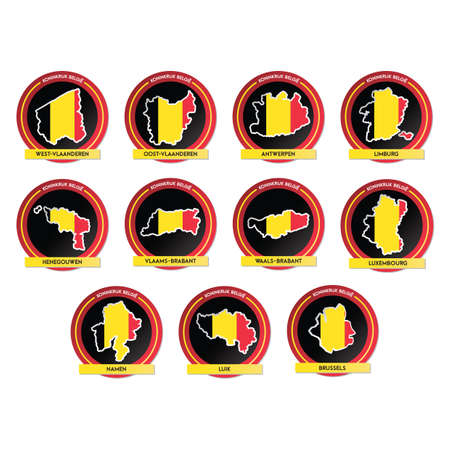 set of belgium map stickers