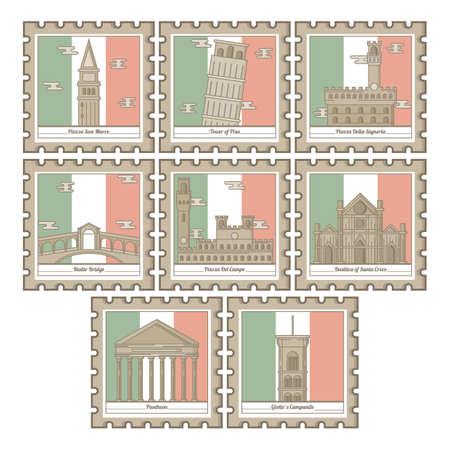 set of italy landmarks icons