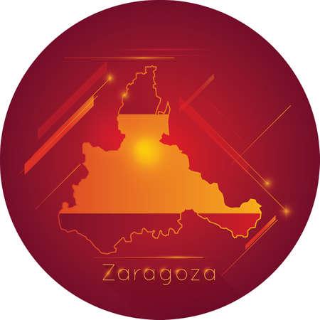 Zaragoza kaart Stock Illustratie