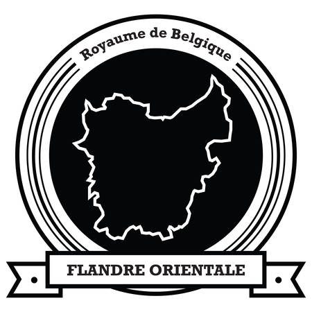 flandre orientale map label Ilustração