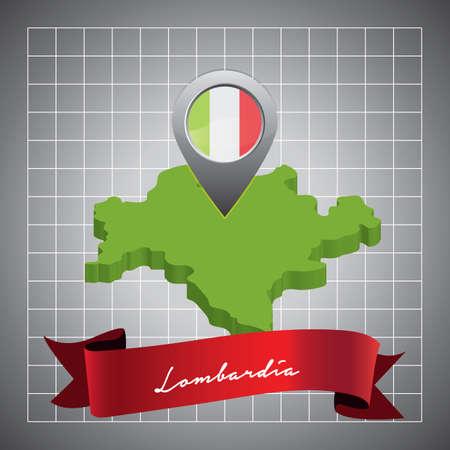 マップ ポインターとロンバルディア地図  イラスト・ベクター素材