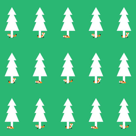 fox with pine tree background Illustration