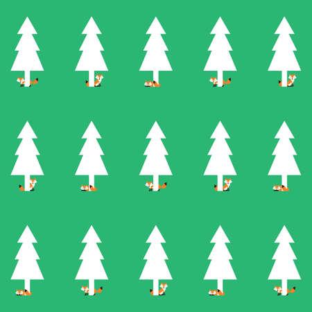 volpe con sfondo di albero di pino