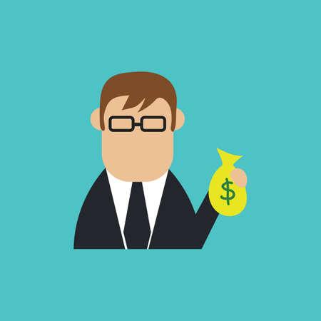 businessman with money bag Ilustração