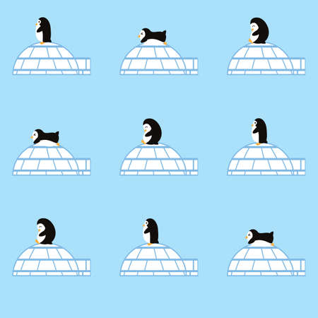 penguins with igloos background Illustration