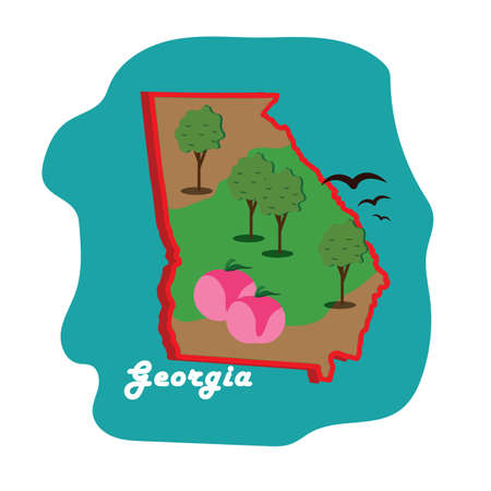 georgia state map with peaches 向量圖像