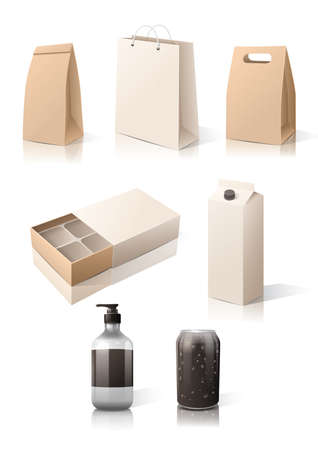 set of boxes and packages