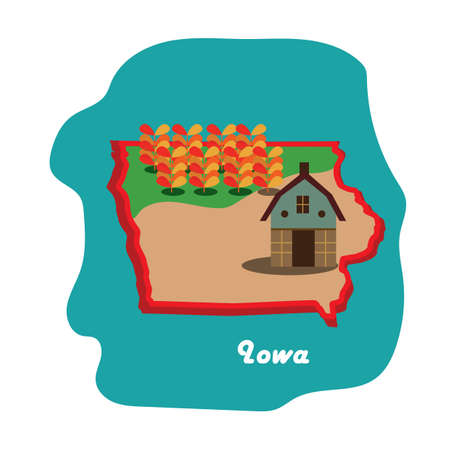 iowa state map with corn and agricultural products Illustration