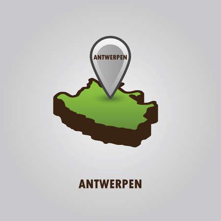 Antwerpen을 나타내는지도 포인터