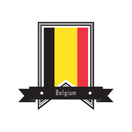 belguim flag label Ilustrace