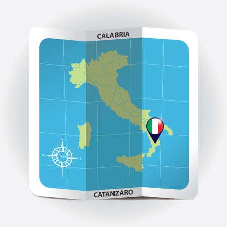 이탈리아지도에 칼라 브리 아를 나타내는지도 포인터
