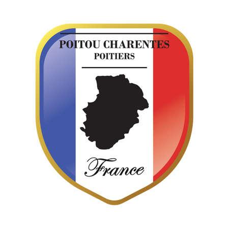 poitou charentes map label Illusztráció