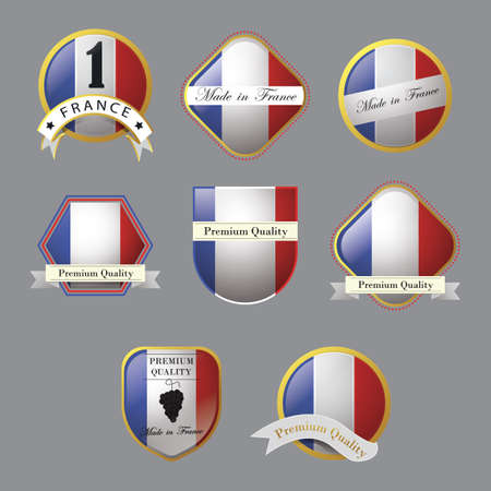 set of france flag labels Иллюстрация