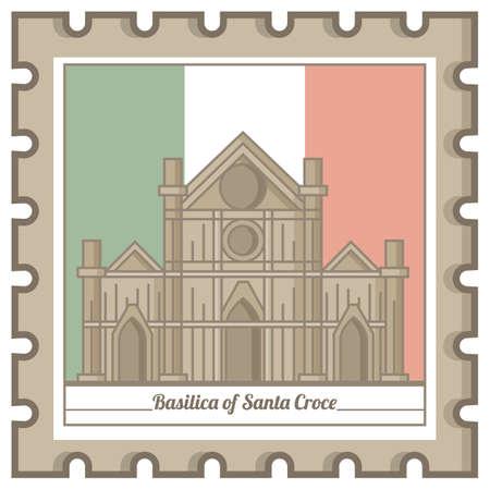 basilica of santa croce postal stamp Illustration