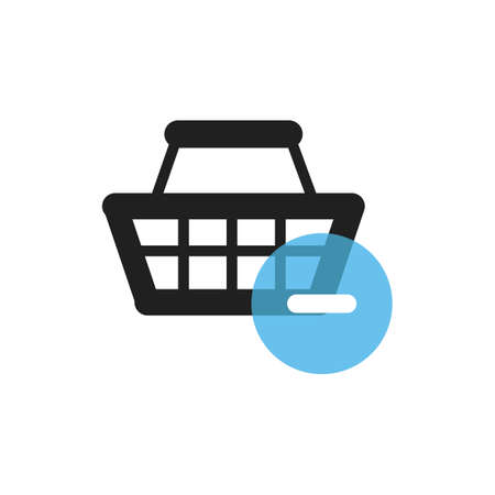 shopping basket with minus symbol Illustration