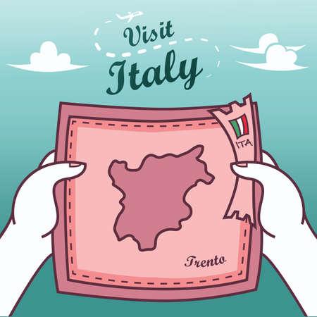 Hands holding trento paper map Ilustração