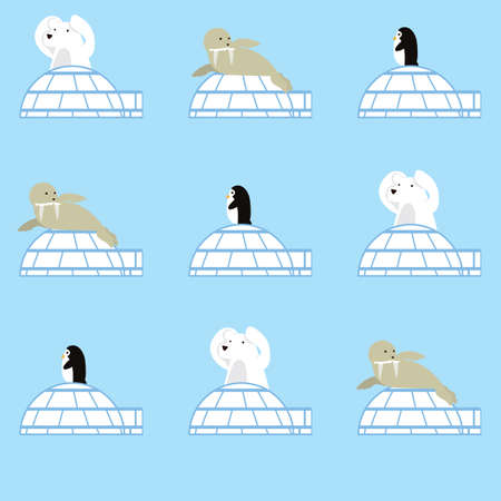 animals with igloos background