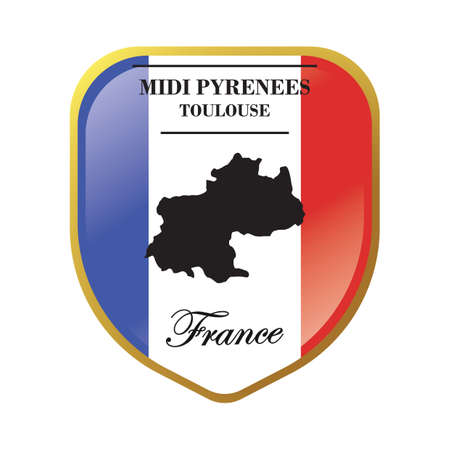 ミディ ピレネー山脈マップ ラベル  イラスト・ベクター素材