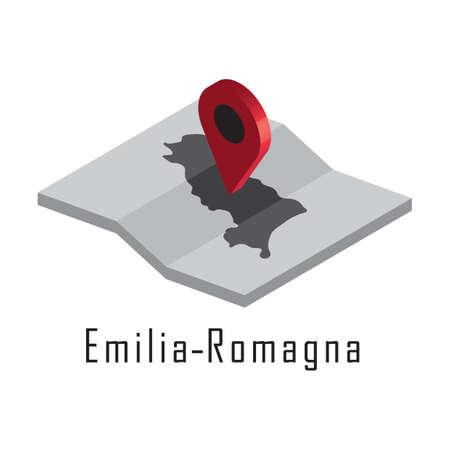 지도 포인터가있는 emilia-romagna지도 일러스트